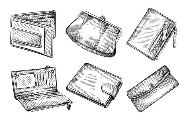 hand-drawn-sketch-set-female-male-wallets-white-background_175414-169